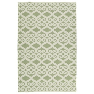 Indoor/Outdoor Laguna Green and Ivory Scroll Flat-Weave Rug (9'0 x 12'0) - 9' x 12'