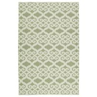 Indoor/Outdoor Laguna Green and Ivory Scroll Flat-Weave Rug - 9' x 12'
