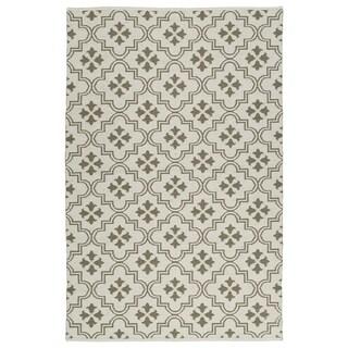 Indoor/Outdoor Laguna Ivory and Dark Taupe Tiles Flat-Weave Rug - 2' x 3'