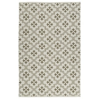 Indoor/Outdoor Laguna Ivory and Dark Taupe Tiles Flat-Weave Rug (2'0 x 3'0) - 2' x 3'