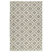 Indoor/Outdoor Laguna Ivory and Dark Taupe Tiles Flat-Weave Rug - 5' x 7'6
