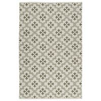 Indoor/Outdoor Laguna Ivory and Dark Taupe Tiles Flat-Weave Rug - 8' x 10'