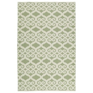 Indoor/Outdoor Laguna Green and Ivory Scroll Flat-Weave Rug (8'0 x 10'0) - 8' x 10'