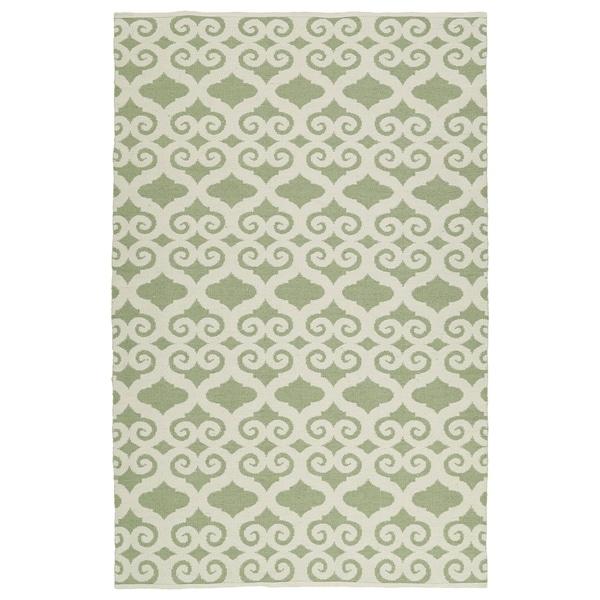 Indoor/Outdoor Laguna Green and Ivory Scroll Flat-Weave Rug - 8' x 10'