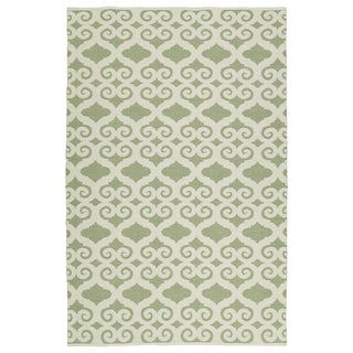 Indoor/Outdoor Laguna Green and Ivory Scroll Flat-Weave Rug (8'0 x 10'0)