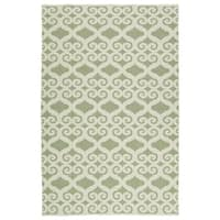 Indoor/Outdoor Laguna Green and Ivory Scroll Flat-Weave Rug (8'0 x 10'0) - 8' x 10'