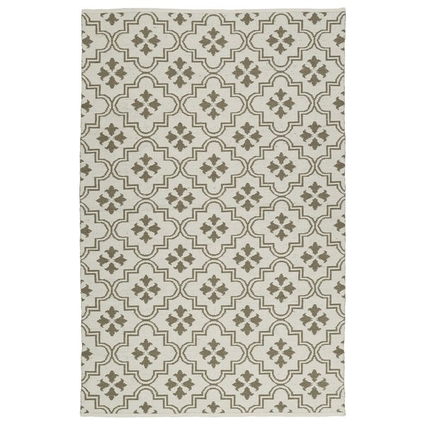 Indoor/Outdoor Laguna Ivory and Dark Taupe Tiles Flat-Weave Rug - 3' x 5'