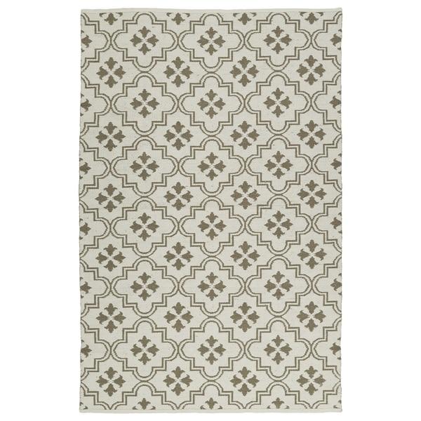 Indoor/Outdoor Laguna Ivory and Dark Taupe Tiles Flat-Weave Rug - 9' x 12'