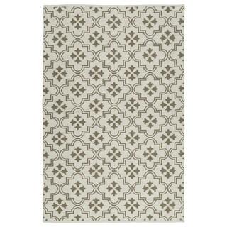 Indoor/Outdoor Laguna Ivory and Dark Taupe Tiles Flat-Weave Rug (9'0 x 12'0)