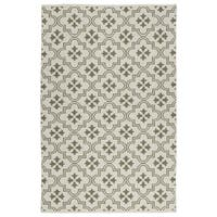 Indoor/Outdoor Laguna Ivory and Dark Taupe Tiles Flat-Weave Rug - 9' x 12'