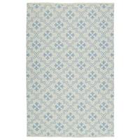 Indoor/Outdoor Laguna Ivory and Light Blue Tiles Flat-Weave Rug - 2' x 3'