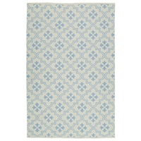 Indoor/Outdoor Laguna Ivory and Light Blue Tiles Flat-Weave Rug - 5' x 7'6""