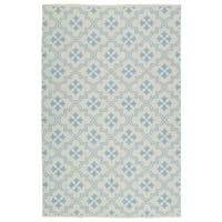 Indoor/Outdoor Laguna Ivory and Light Blue Tiles Flat-Weave Rug - 8' x 10'