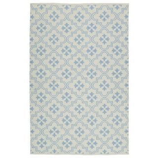 Indoor/Outdoor Laguna Ivory and Light Blue Tiles Flat-Weave Rug (9'0 x 12'0)