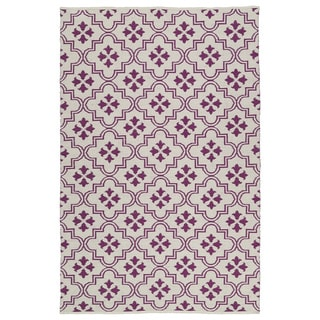 Indoor/Outdoor Laguna Ivory and Purple Tiles Flat-Weave Rug (3'0 x 5'0) - 3' x 5'
