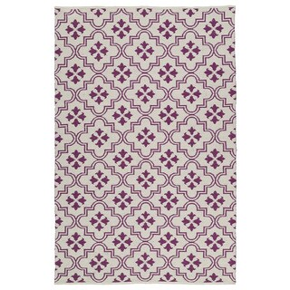 Indoor/Outdoor Laguna Ivory and Purple Tiles Flat-Weave Rug (3'0 x 5'0)