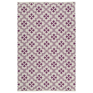 Indoor/Outdoor Laguna Ivory and Purple Tiles Flat-Weave Rug (2'0 x 3'0) - 2' x 3'