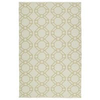 Indoor/Outdoor Laguna Ivory and Khaki Geo Flat-Weave Rug - 9' x 12'