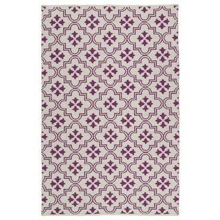 Indoor/Outdoor Laguna Ivory and Purple Tiles Flat-Weave Rug (5'0 x 7'6)