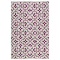 Indoor/Outdoor Laguna Ivory and Purple Tiles Flat-Weave Rug - 5' x 7'6""