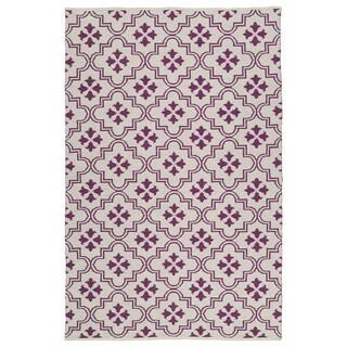 Indoor/Outdoor Laguna Ivory and Purple Tiles Flat-Weave Rug (8'0 x 10'0) - 8' x 10'