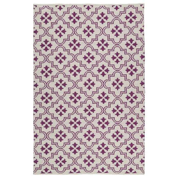 Indoor/Outdoor Laguna Ivory and Purple Tiles Flat-Weave Rug - 8' x 10'