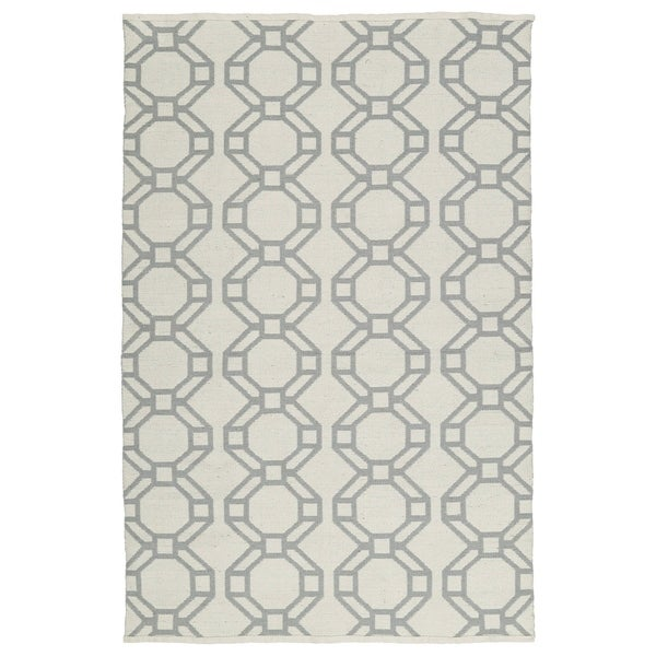Indoor/Outdoor Laguna Ivory and Grey Geo Flat-Weave Rug - 8' x 10'
