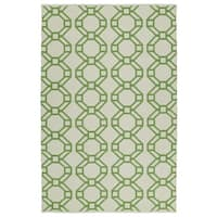 Indoor/Outdoor Laguna Ivory and Lime Geo Flat-Weave Rug - 3' x 5'