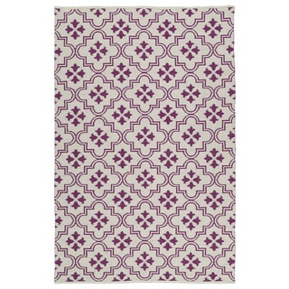 Indoor/Outdoor Laguna Ivory and Purple Tiles Flat-Weave Rug (9'0 x 12'0)