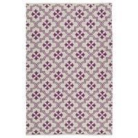 Indoor/Outdoor Laguna Ivory and Purple Tiles Flat-Weave Rug - 9' x 12'