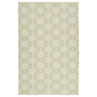 "Indoor/Outdoor Laguna Ivory and Khaki Geo Flat-Weave Rug (5'0 x 7'6) - 5' x 7'6"""