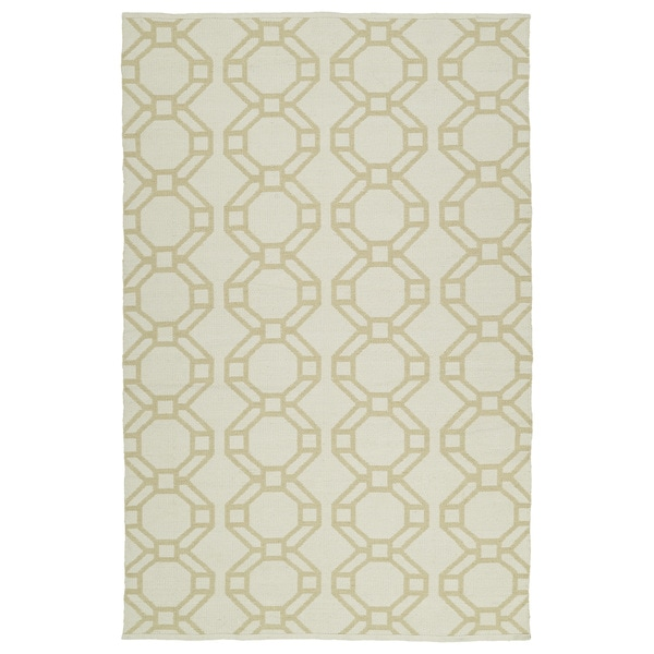 Indoor/Outdoor Laguna Ivory and Khaki Geo Flat-Weave Rug (5'0 x 7'6) - 5' x 7'6""