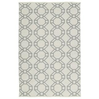 Indoor/Outdoor Laguna Ivory and Grey Geo Flat-Weave Rug (9'0 x 12'0)