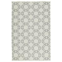 Indoor/Outdoor Laguna Ivory and Grey Geo Flat-Weave Rug - 9' x 12'