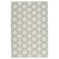 Indoor/Outdoor Laguna Ivory and Grey Geo Flat-Weave Rug - 2' x 3'