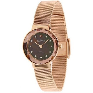 Skagen Women's 456SRR1 Leonora Rose Goldtone Stainless Steel Quartz 2-hand Watch