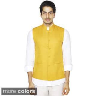 Handmade Men's A.N.D. by Anita Dongre Mandarin Collar Button Down Vest (India)|https://ak1.ostkcdn.com/images/products/10200146/P17324314.jpg?impolicy=medium