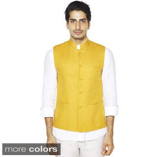Handmade Men's A.N.D. by Anita Dongre Mandarin Collar Button Down Vest (India) (2 options available)