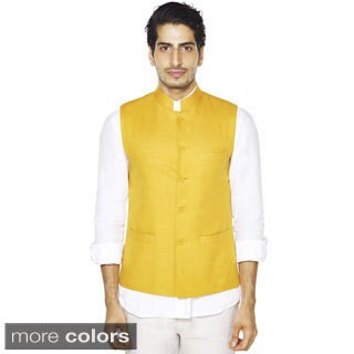 Handmade Men's A.N.D. by Anita Dongre Mandarin Collar Button Down Vest (India)