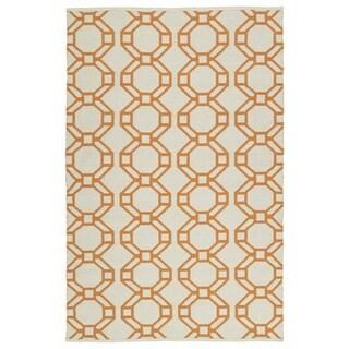 Indoor/Outdoor Laguna Ivory and Orange Geo Flat-Weave Rug (8'0 x 10'0) - 8' x 10'