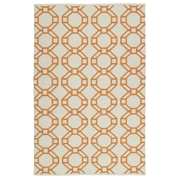 Indoor/Outdoor Laguna Ivory and Orange Geo Flat-Weave Rug - 8' x 10'