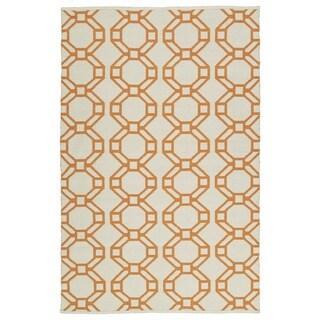 Indoor/Outdoor Laguna Ivory and Orange Geo Flat-Weave Rug (8'0 x 10'0)