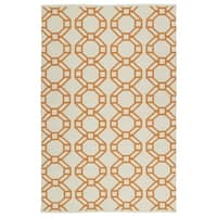 Indoor/Outdoor Laguna Ivory and Orange Geo Flat-Weave Rug - 8' x 10'