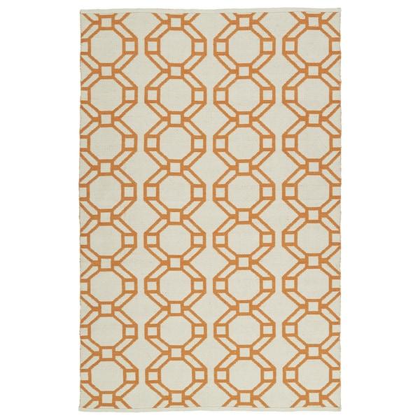 Indoor/Outdoor Laguna Ivory and Orange Geo Flat-Weave Rug - 9' x 12'