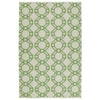 Indoor/Outdoor Laguna Ivory and Lime Geo Flat-Weave Rug - 8' x 10'