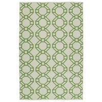 """Indoor/Outdoor Laguna Ivory and Lime Geo Flat-Weave Rug - 5' x 7'6"""""""
