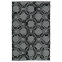 Indoor/Outdoor Laguna Grey and Black Geo Flat-Weave Rug - 9' x 12'