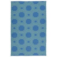 Indoor/Outdoor Laguna Blue and Turquoise Geo Flat-Weave Rug - 8' x 10'