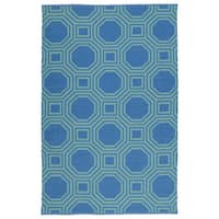 Indoor/Outdoor Laguna Blue and Turquoise Geo Flat-Weave Rug - 9' x 12'