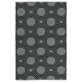 Indoor/Outdoor Laguna Grey and Black Geo Flat-Weave Rug (3' x 5')